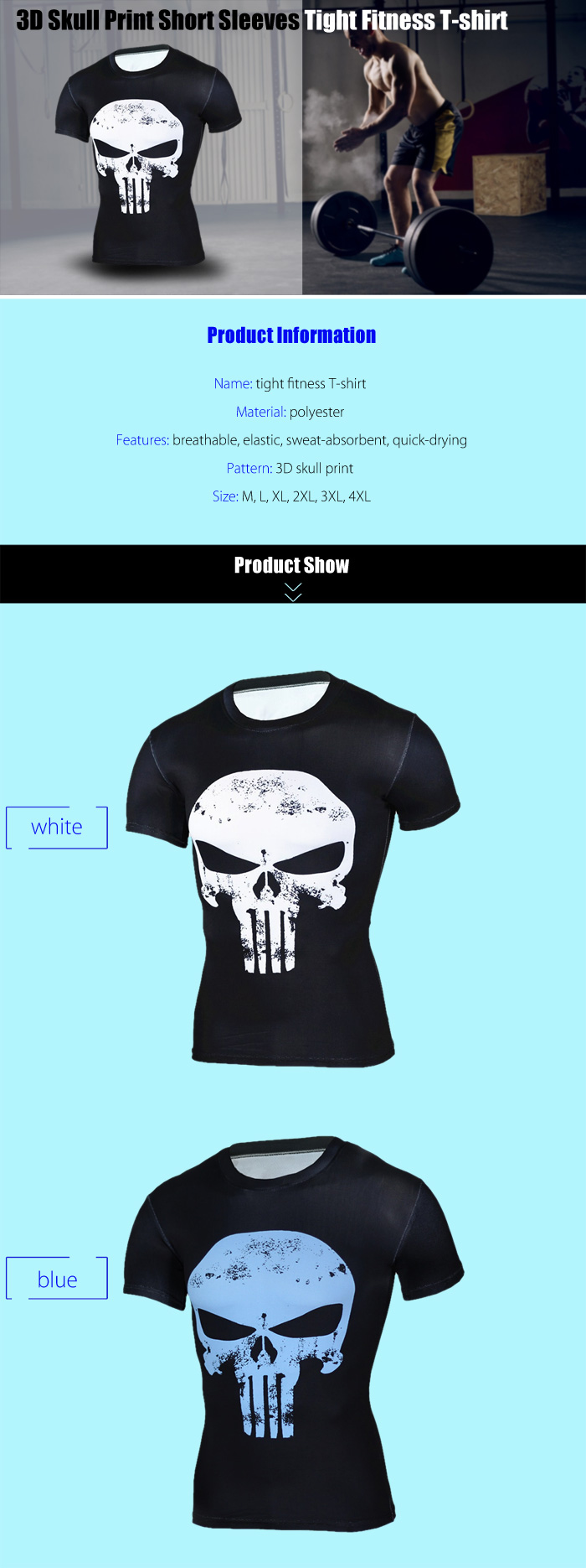 3D Skull Print Tight Fit Short Sleeves T-shirt for Fitness Sports