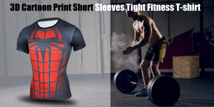 3D Cartoon Print Short Sleeves Tight T-shirt for Fitness Sports