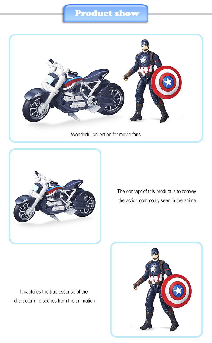 Action Figure with Motorcycle Collectible ABS + PVC Figurine
