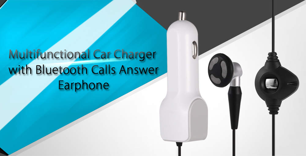 USB 2.1A Quick Charge Car Charger with Bluetooth Calls Answer Earphone