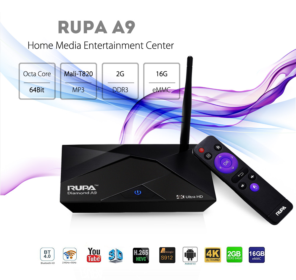RUPA A9 Android 6.0 TV Box Amlogic S912 Octa Core CPU 2GB DDR3 + 16GB ROM Bluetooth 4.0