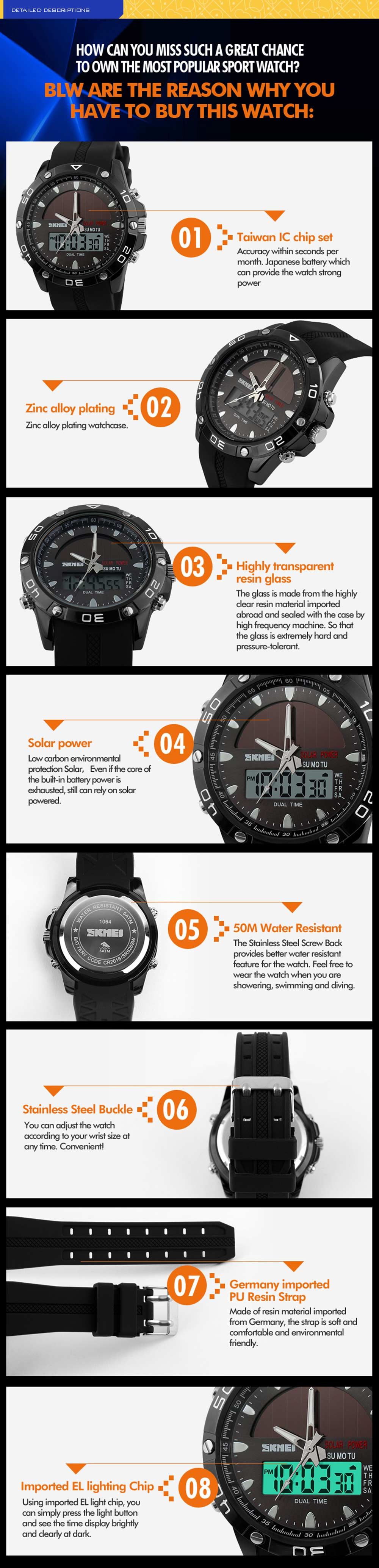 Skmei 1064 Solar Power Army LED Watch Date Day Alarm Dual-movt Water Resistant Military Wristwatch for Sports
