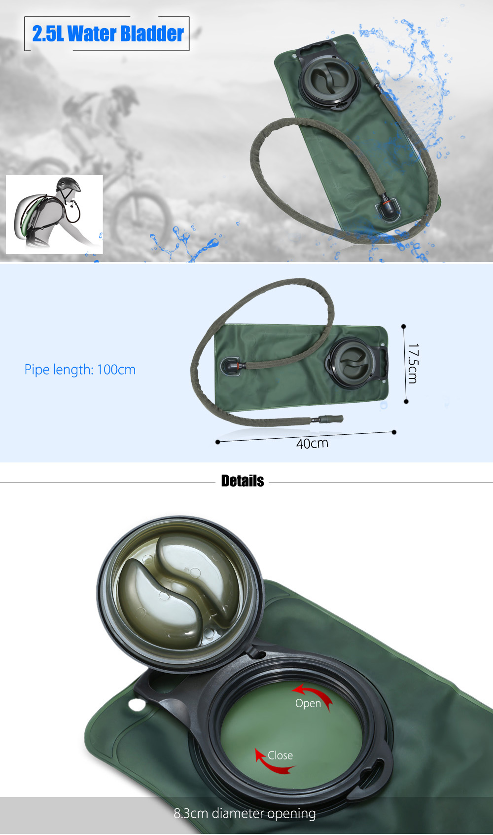 Portable 2.5L TPU Water Bladder Bag with Pipe for Climbing Cycling Camping