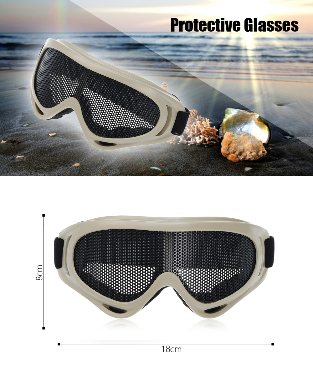 Shock-resistant Protective Glasses Goggle with Metal Net Lens for Outdoor Adventuring