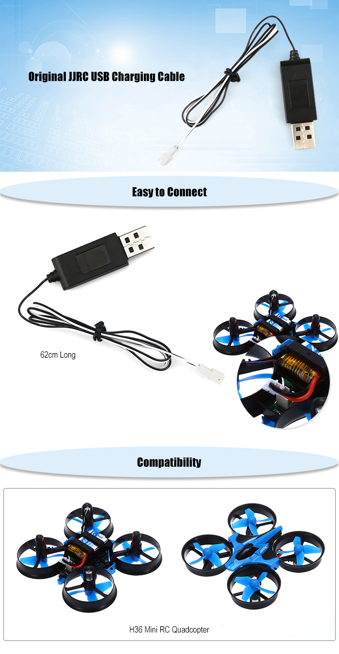 Original JJRC 62cm Long USB Charging Cable for H36 Mini RC Quadcopter