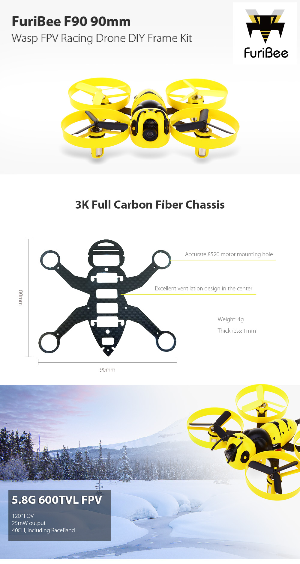 FuriBee F90 90mm Wasp FPV Racing Drone DIY Frame Kit 5.8G 600TVL / F3 Brushed FC / FLYSKY 6CH Receiver