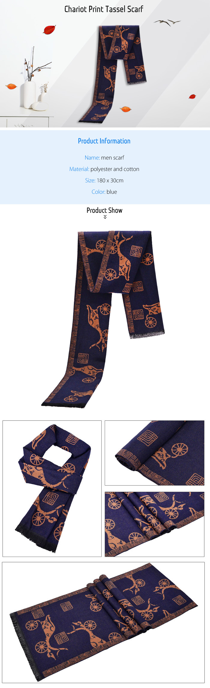 Men Toasty Chariot Print Scarf Breathable Neck Warmer Neckerchief with Tassel
