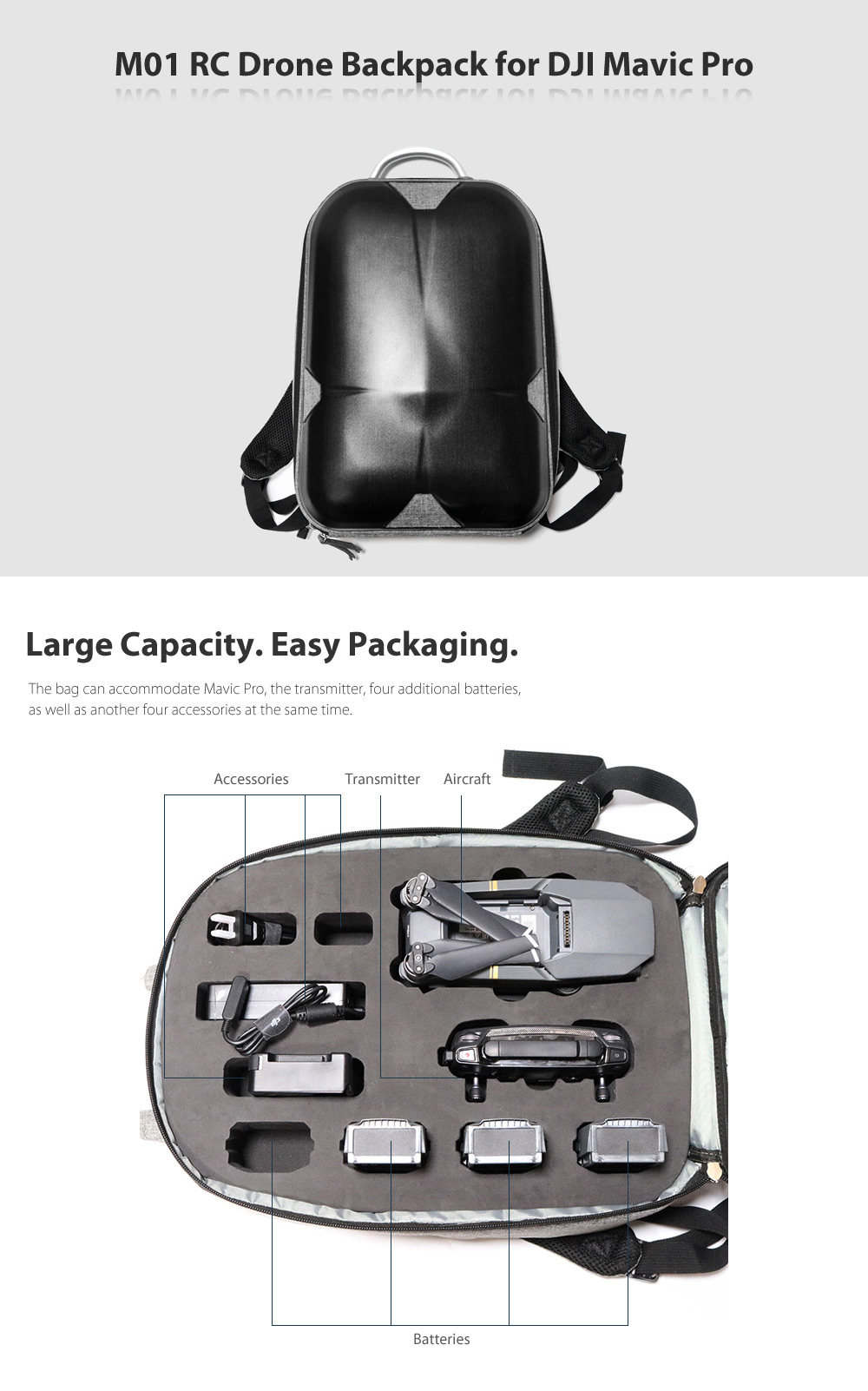 M01 RC Drone Backpack with PC Hard Shell / Aluminum Handle for DJI Mavic Pro
