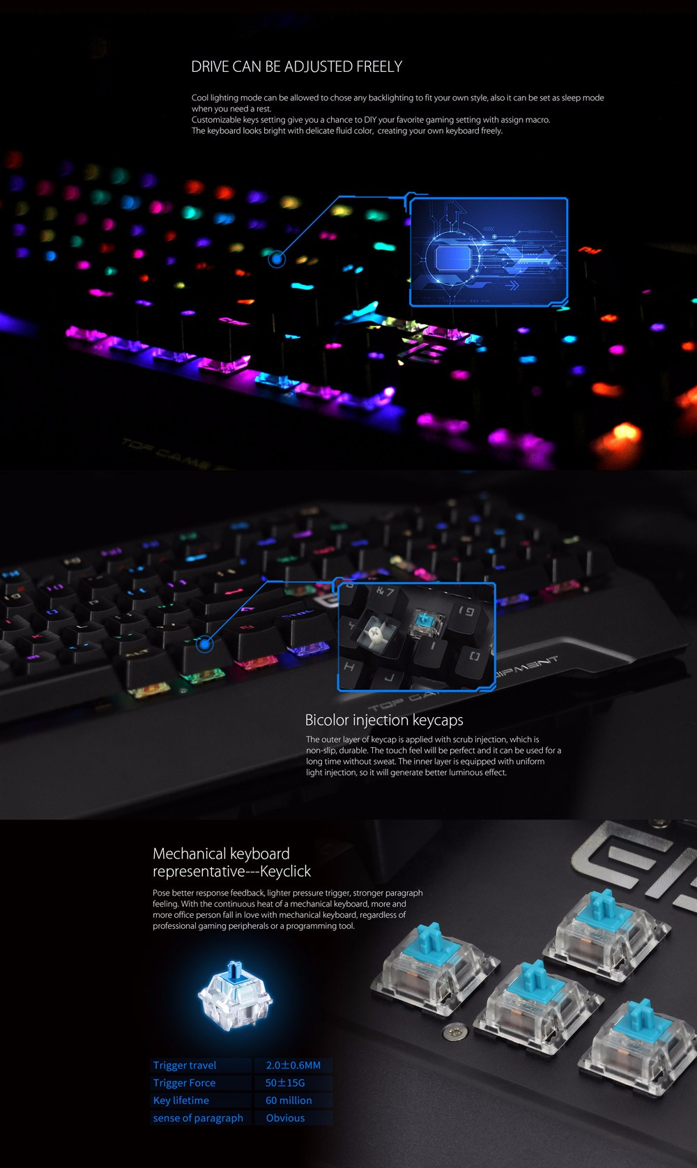 Elephone ELeEnter Game 2 104 Key Wired Gaming Mechanical Keyboard with Blue Switch