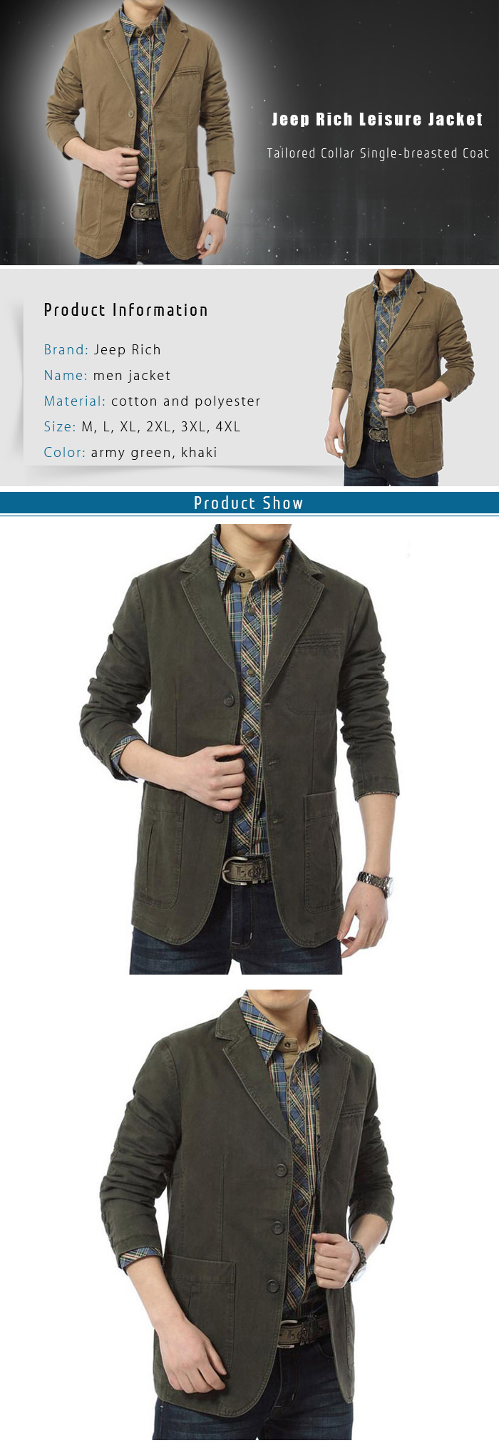 Jeep Rich Tailored Collar Single-breasted Leisure Jacket