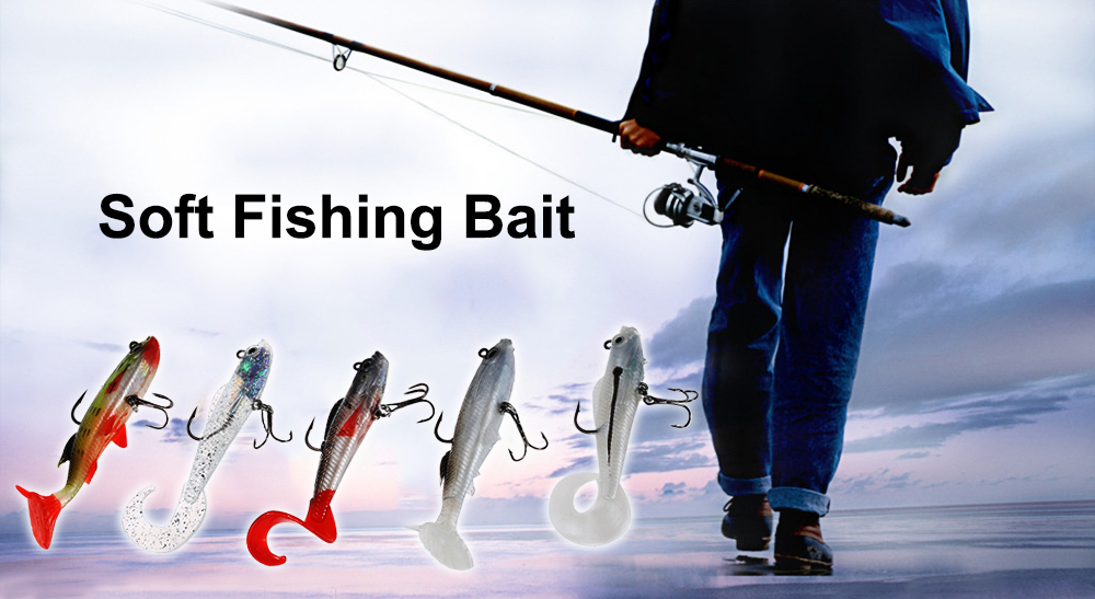 5pcs Single-tail Soft Fishing Bait Lure with Lead Sinker / Barbed Hook with Box