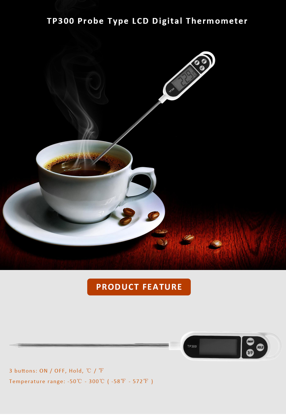 TP300 LCD Digital Thermometer Probe Type for Water / Liquid / Paste Temperature