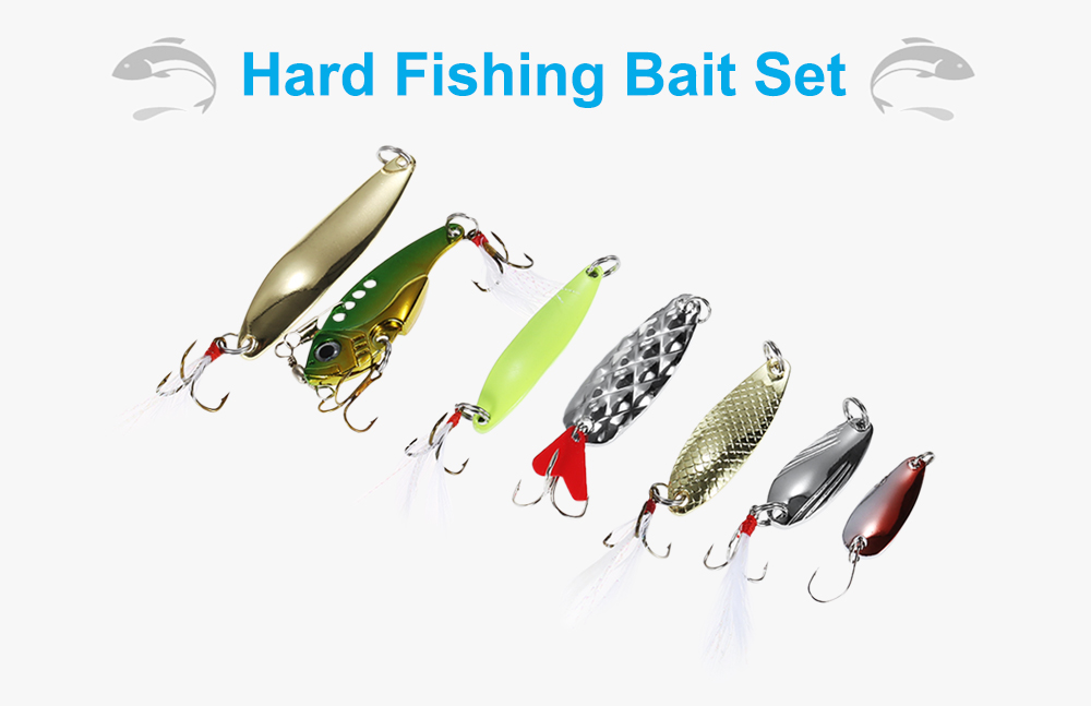 19pcs Metal Hard Fishing Bait Sequin Hook with Portable Storage Box