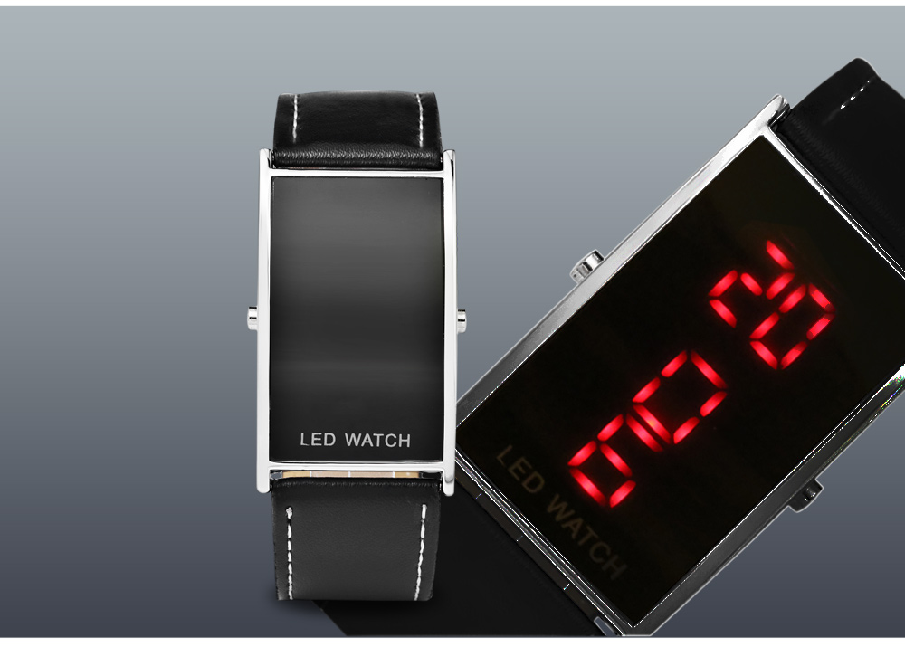 Fashion Arc Surfaced Rectangle Dial LED Watch