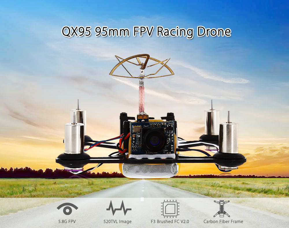 QX95 95mm FPV Racing Drone BNF 5.8G 520TVL / F3 Brushed FC / FrSky 8CH Receiver