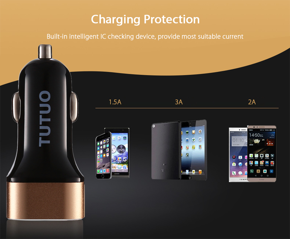 TUTUO QC 3.0 - 114 Quick Charge Car Charger with Dual USB Ports