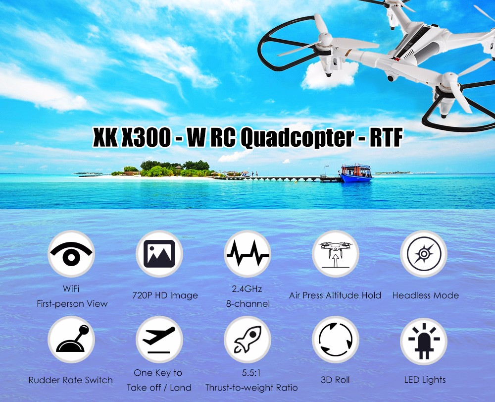XK X300 - W Brushed RC Drone RTF WiFi FPV 720P HD 2.4GHz 8CH 6-axis Gyro Optical Flow Positioning Air Press Altitude Hold