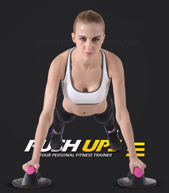 Pair of 360 Degree Rotating Push-up Bars Stands Fitness Trainer Workout Machine