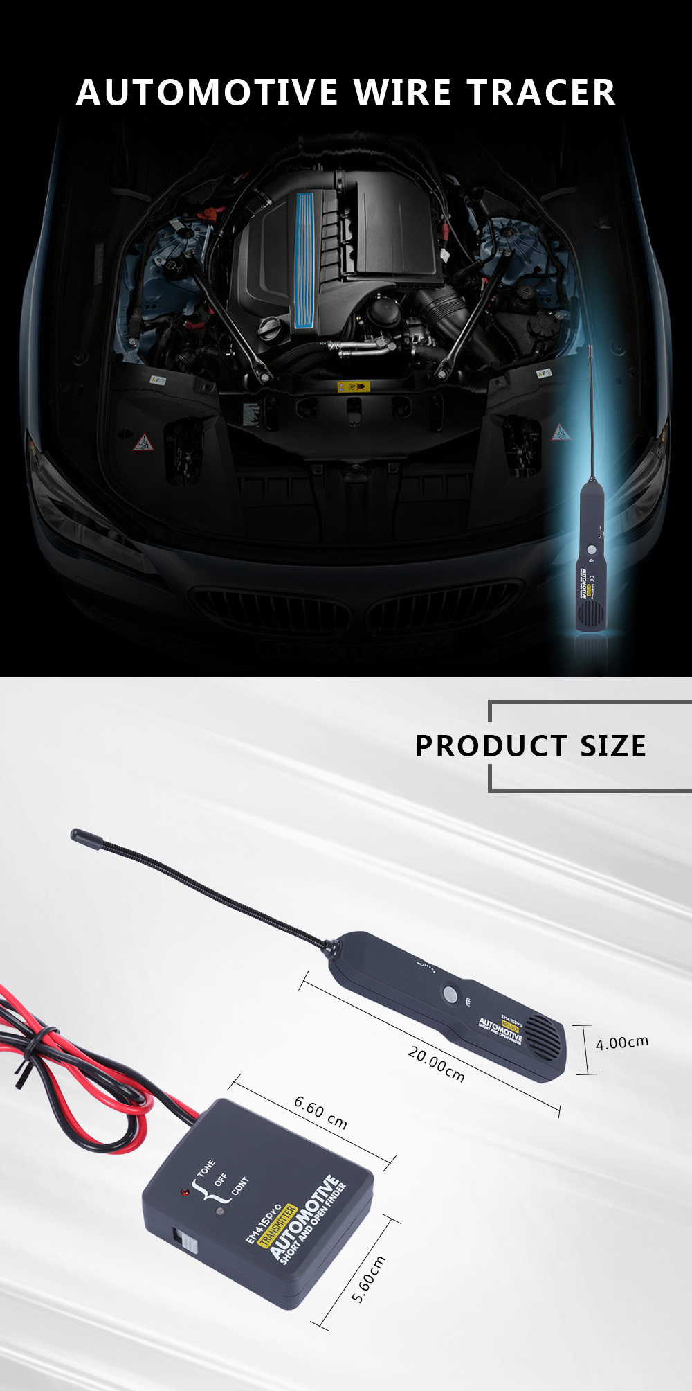 Short / Open Circuit Wire Tracker Electronic Measuring Tool for Automobile