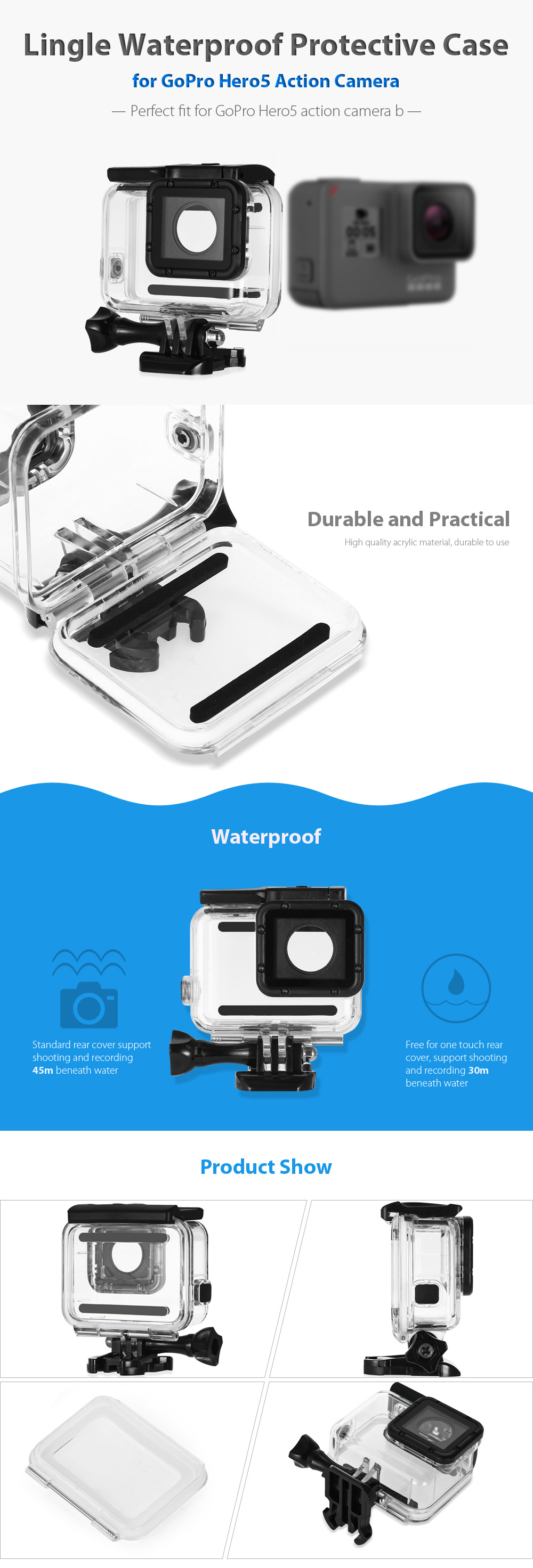 Original Lingle Waterproof Protective Case for GoPro Hero5 Black Action Camera with Touch Rear Cover