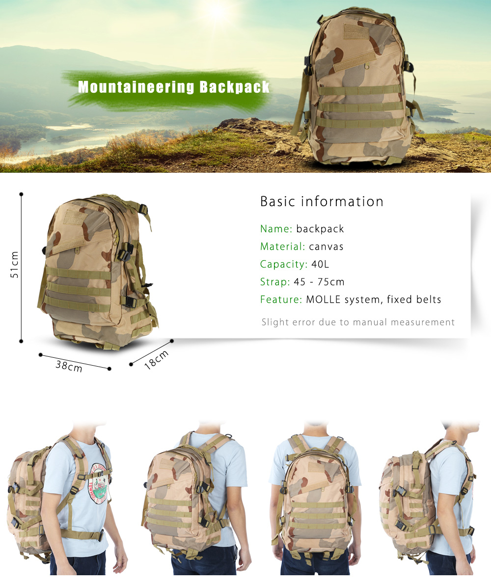 BL006 Wear-resistant Canvas 40L Mountaineering Backpack Bag with MOLLE System