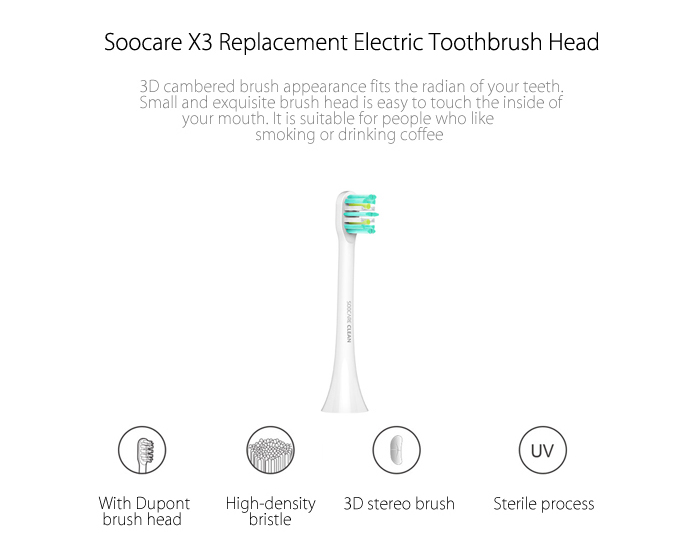 2PCS Deep Clean Type Replacement Toothbrush Head for SOOCARE SOOCAS X3
