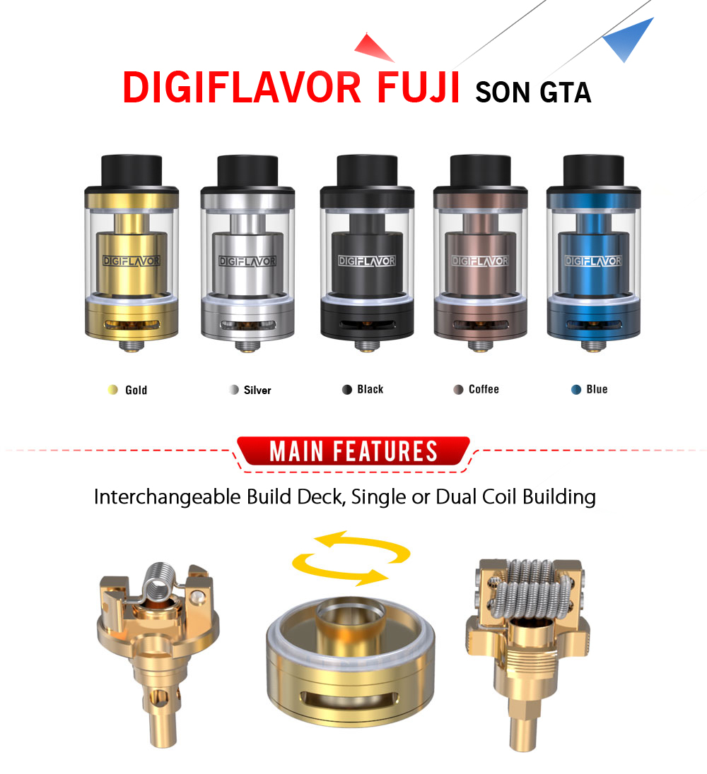 Original DIGIFLAVOR FUJI SON GTA with 4ml Capacity / GTA Structure for E Cigarette