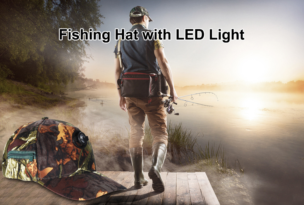 Adjustable Fishing Hat Cap with 5W LED Light for Night Activities