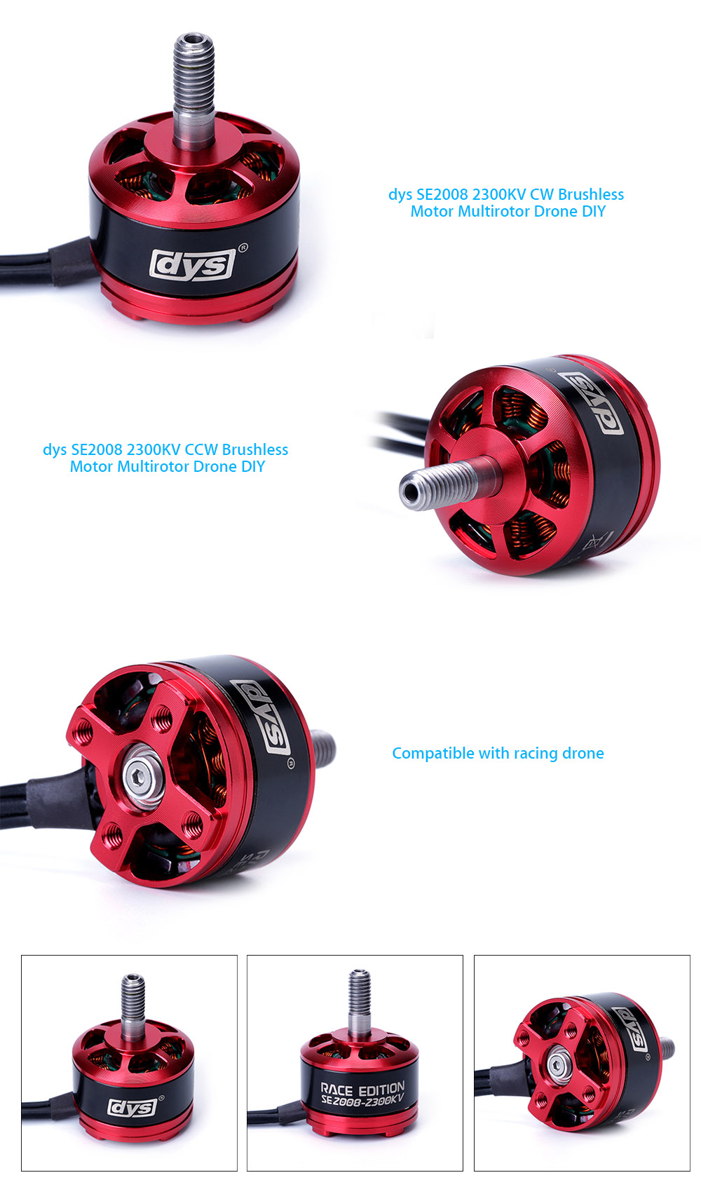 dys SE2008 2550KV CW Brushless Motor Multirotor Drone DIY Spare Part