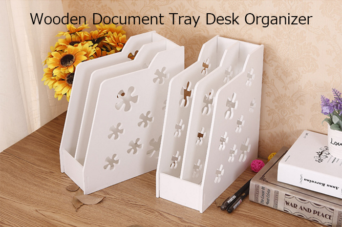 Wooden Document Tray File Storage Box