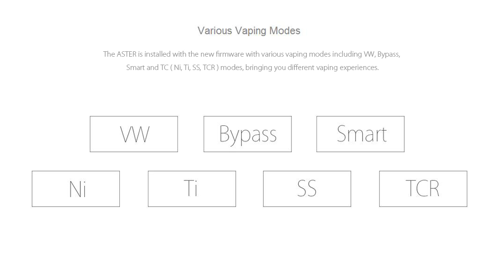 Original Eleaf ASTER RT 100W TC Mod with built-in 4400mAh Lithium-ion Battery / Multiple Modes for E Cigarette