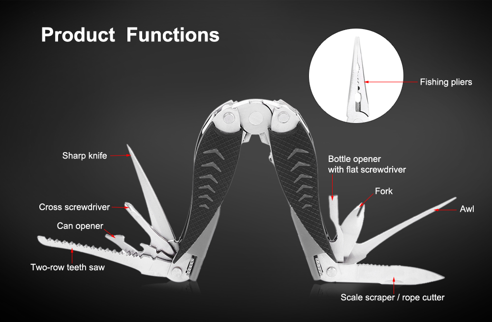 PE01 420H Stainless Steel Multifunctional Fishing Pliers with Knife / Screwdriver / Saw / Scraper / Awl
