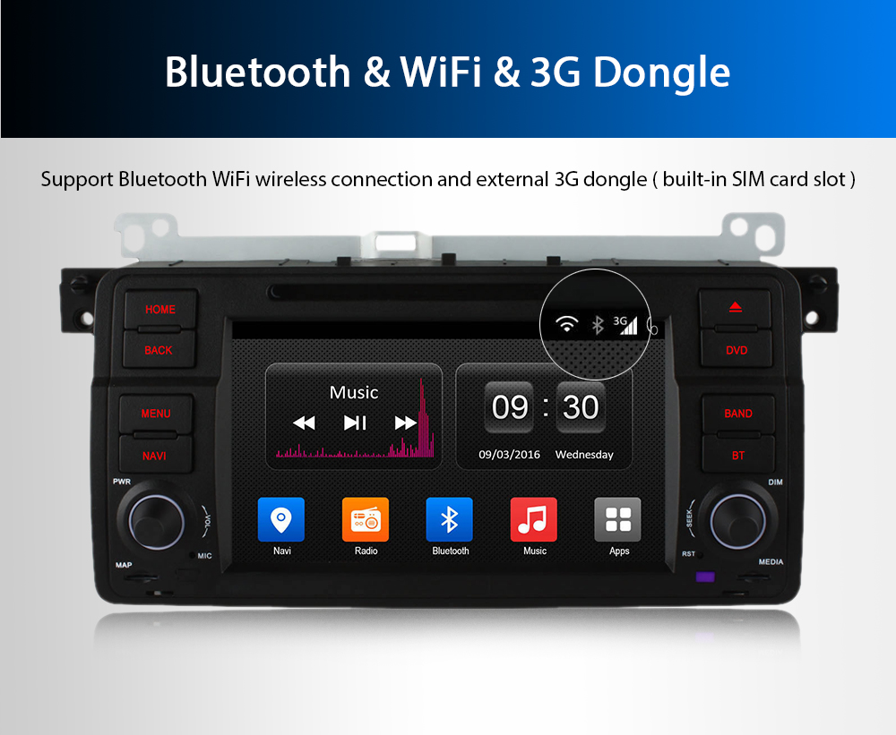 Ownice OL - 7956T Quad Core 7.0 inch Android 4.4 Bluetooth Car DVD Player Navigator for BMW E46 Rover 75