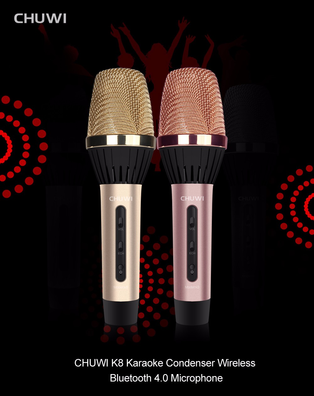 CHUWI K8 Karaoke Condenser Wireless Bluetooth 4.0 Microphone Supporting Volume Control