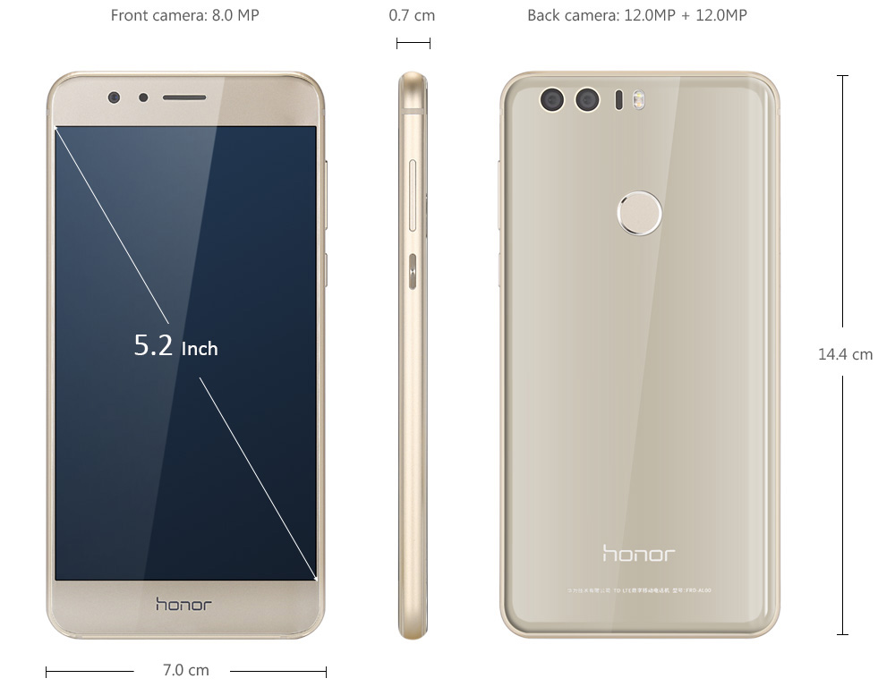 Huawei Honor 8 FRD-AL00 Android 6.0 5.2 inch 4G Smartphone Kirin 950 Octa Core 2.3GHz 4GB RAM 32GB ROM Fingerprint Scanner NFC Double 2.5D Arc Glass