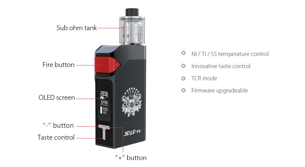 Original IJOY SOLO V2 200W Box Mod Kit with 200 - 600F / Supporting 2pcs 18650 Batteries / 0.3 ohm Clearomizer for E Cigarette