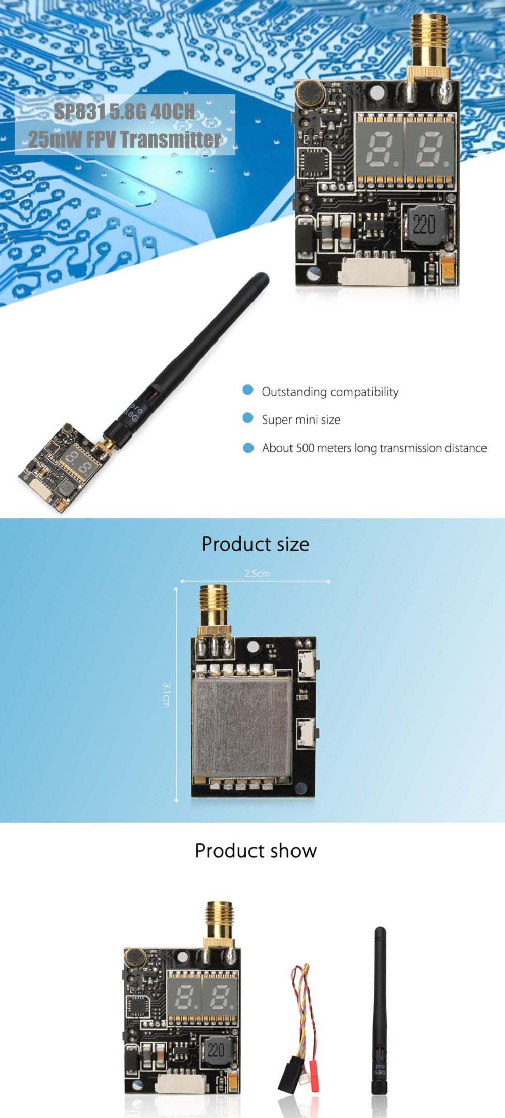 SP831 5.8G 40CH 25mW FPV Transmitter SMA Right Angle Connector