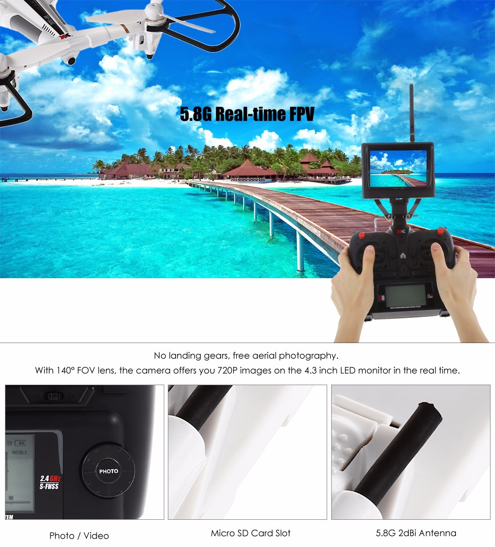 XK X300 - F Brushed RC Drone RTF 5.8G FPV 720P HD 2.4GHz 8CH 6-axis Gyro Optical Flow Positioning Air Press Altitude Hold