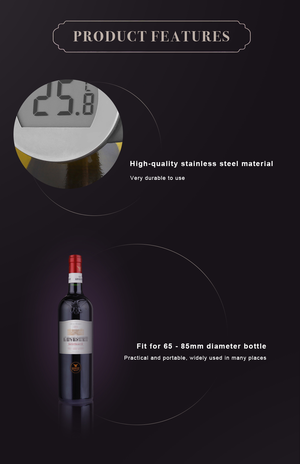 YS101 Practical LCD Clip-on Red Wine Digital Thermometer