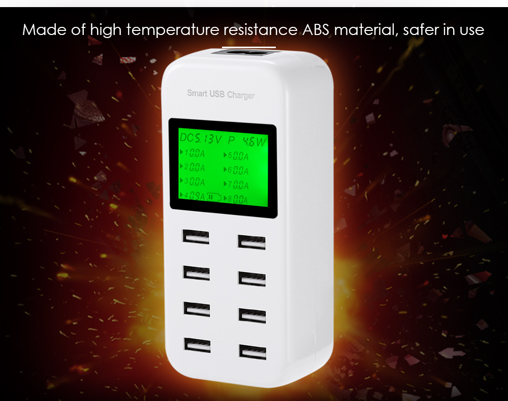 5V 8A Smart USB Charger Adapter LCD Display Current Voltage Detector 8 Output Ports