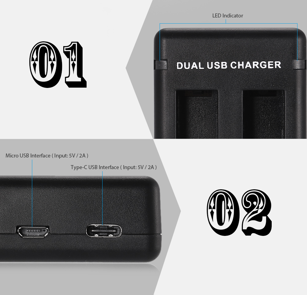 Dual Battery Charging Dock for GoPro HERO5 Action Camera