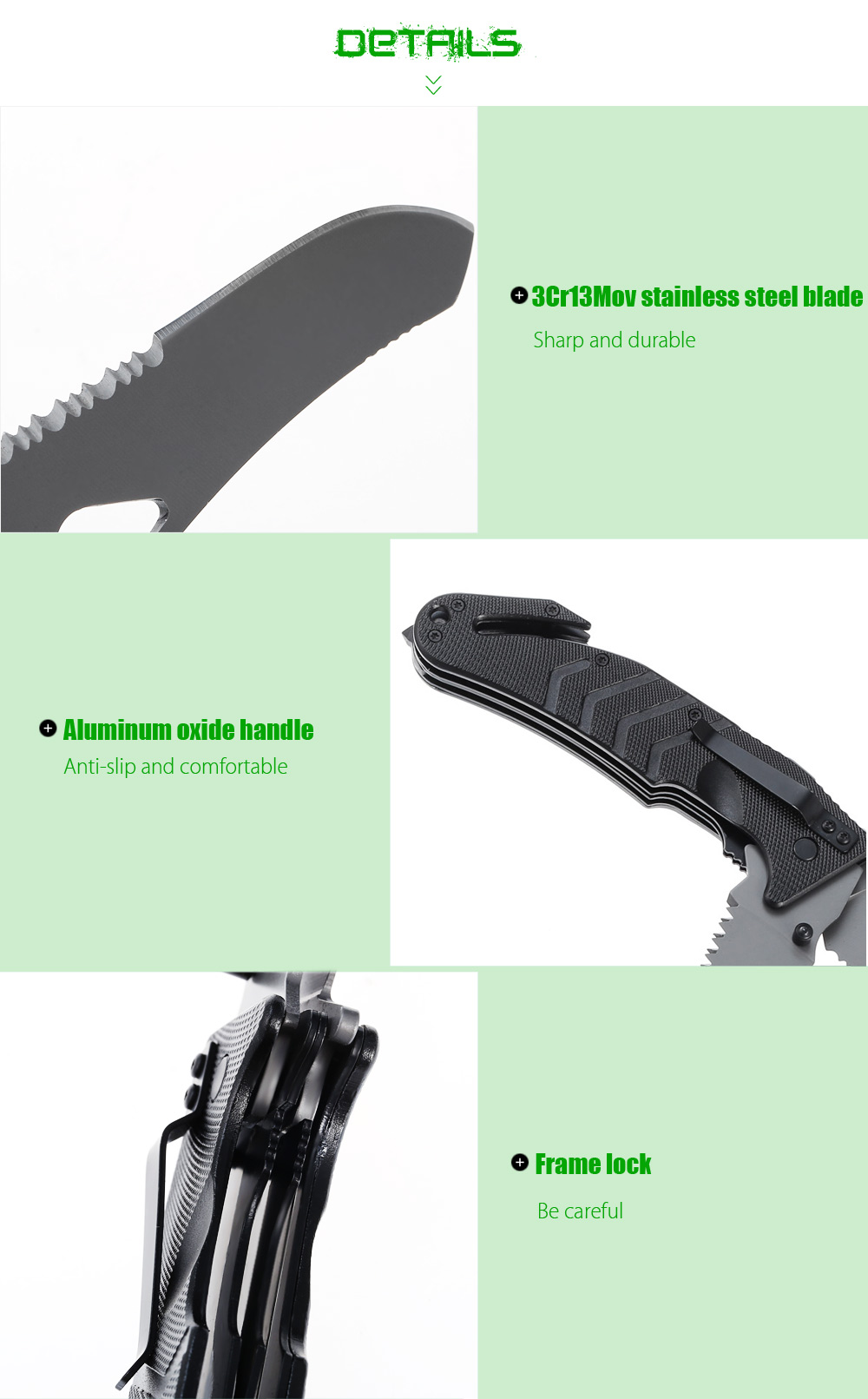 3Cr13Mov Stainless Steel Multi-use Folding Knife / Saw with Rope Cutter