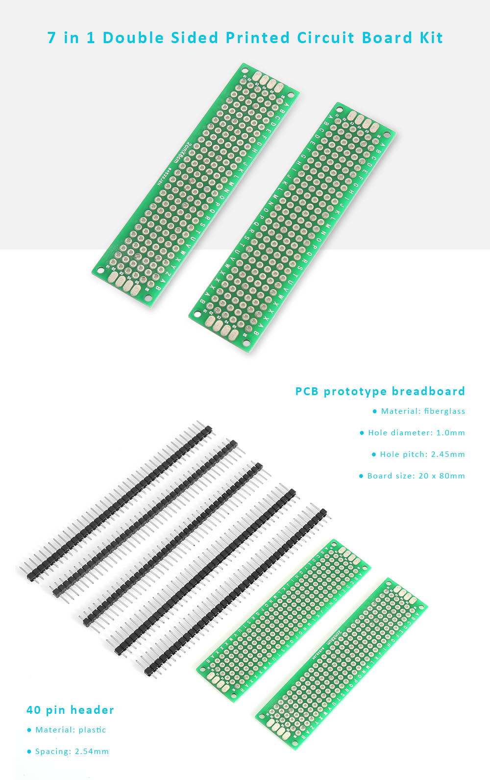 20 x 80mm Double Sided PCB Prototype Board + 2.54mm 40 Pin Breakaway Straight Male Header