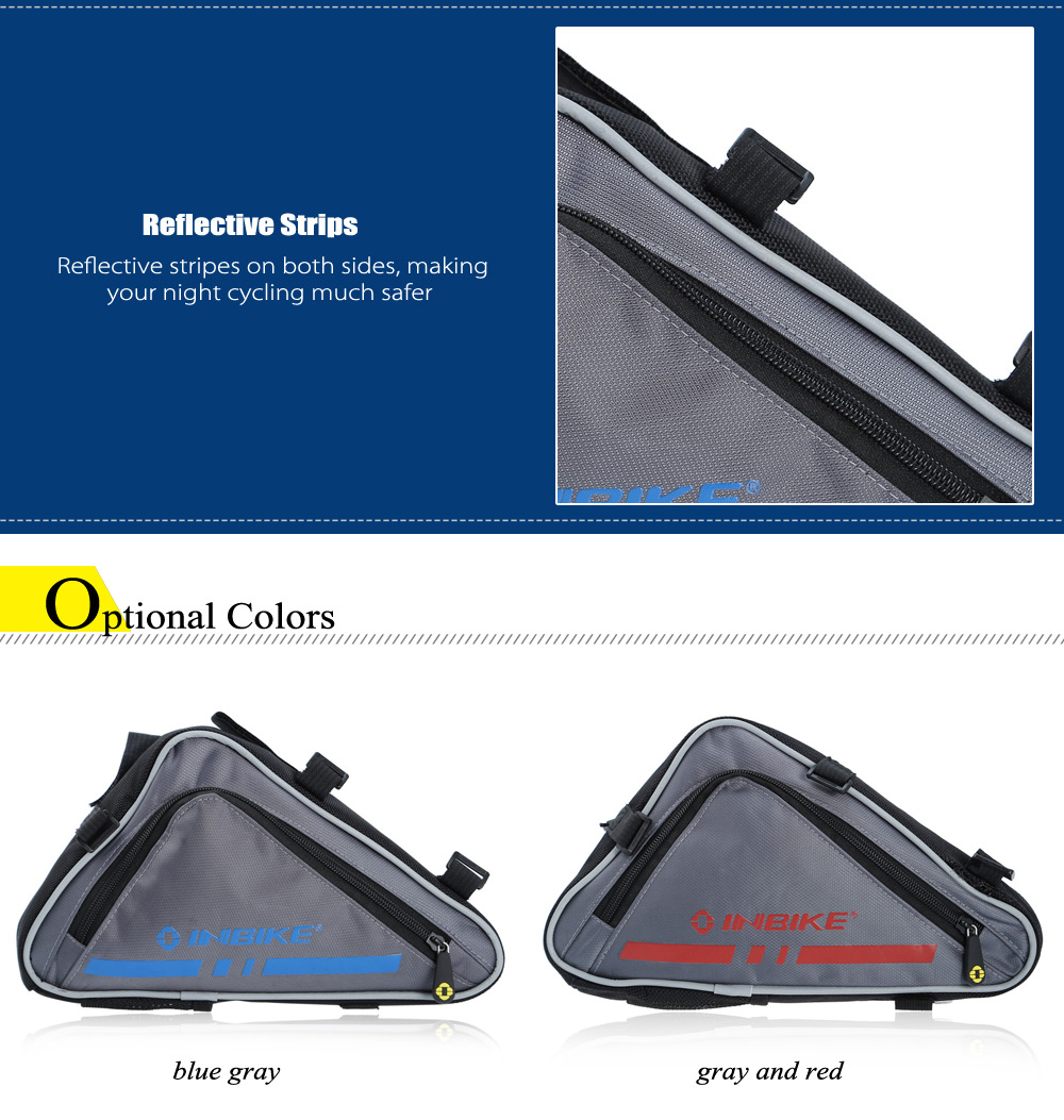 INBIKE IB539 3L Triangle Bike Front Tube Bag with Reflective Stripes Cycling Accessories