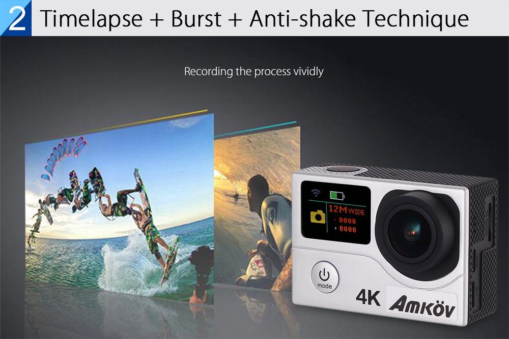 Amkov AMK - H3 4K WiFi Action Camera 2 inch TFT Screen with 20MP OV4689 CMOS Image Sensor 170 Degree View Angle