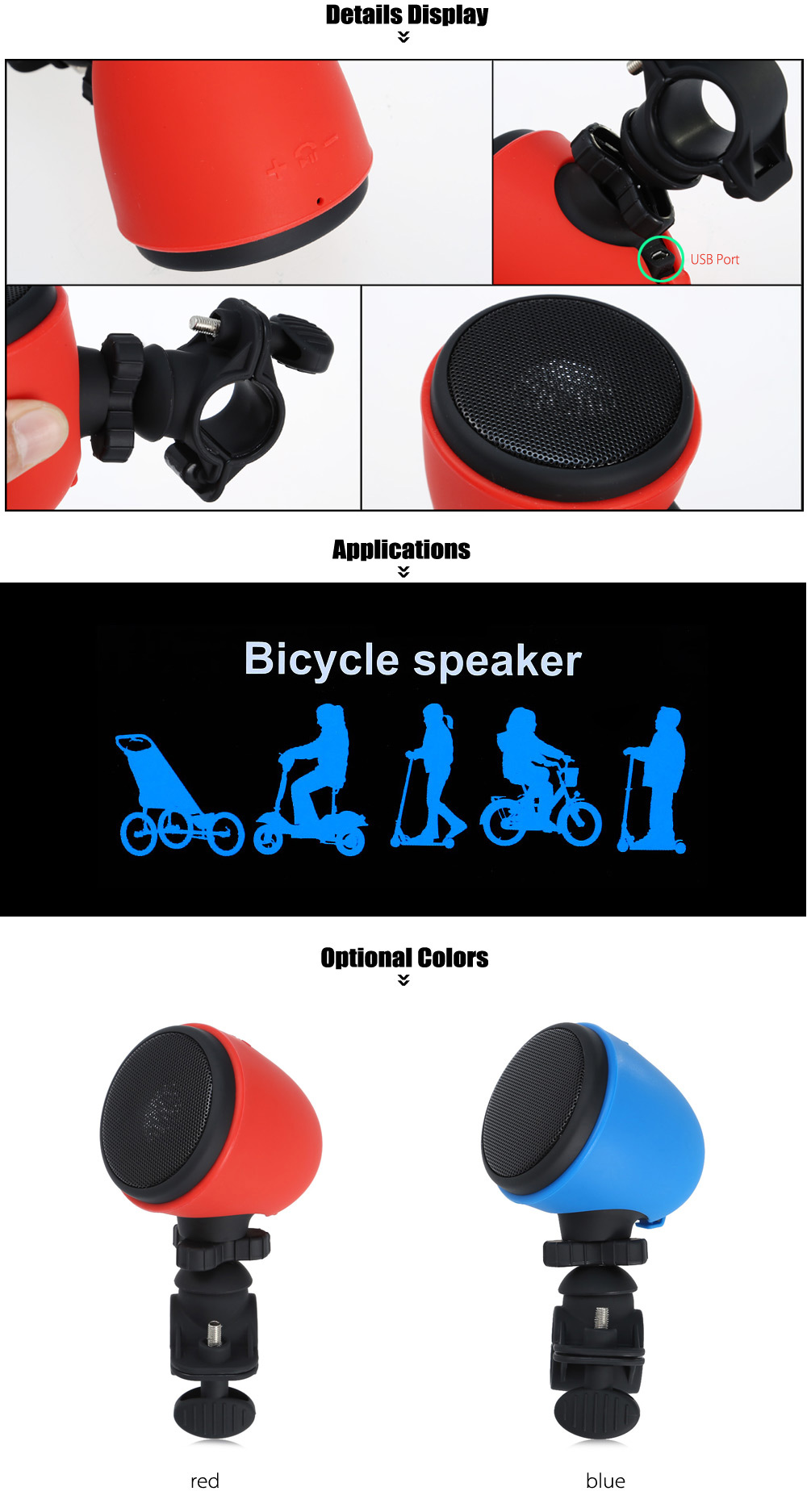 Ourspop MA861 Outdoor Cycling USB Charge Bluetooth Bicycle Mini Speaker