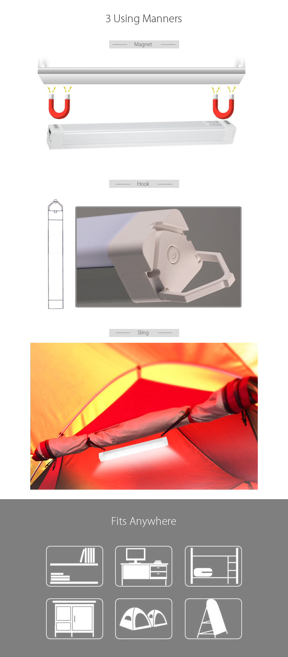 8W USB Rechargeable LED Tube Light with Magnet Hook Sling