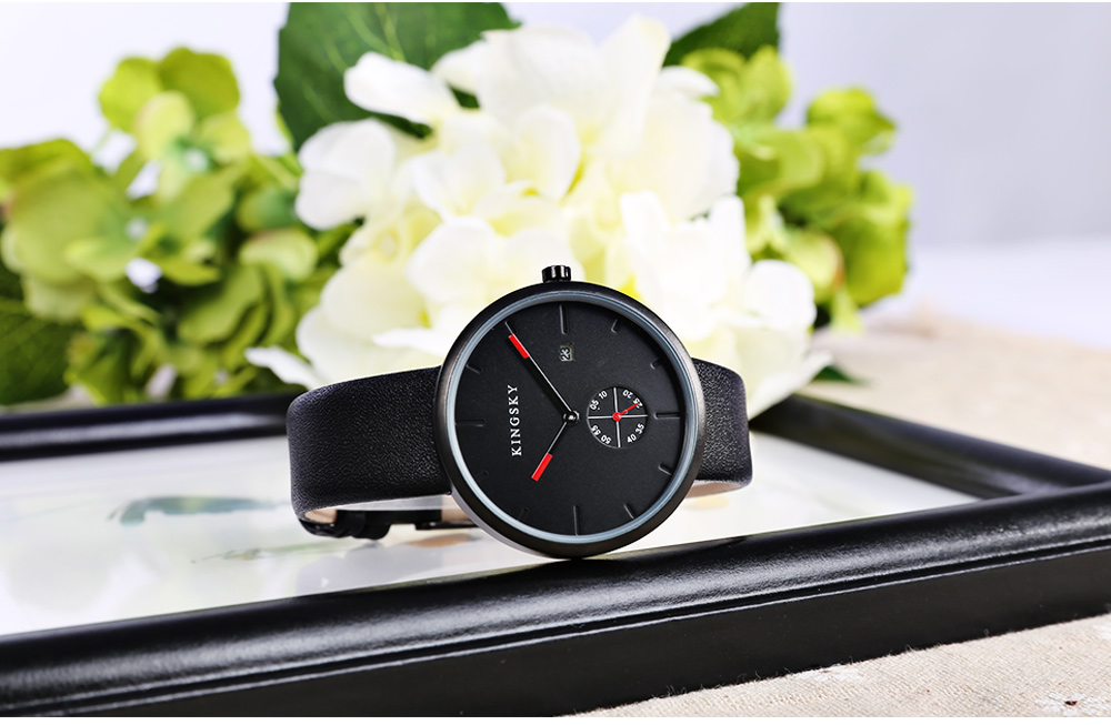 KINGSKY 101M Casual Leather Strap Small Dial Design Unisex Quartz Watch Date Display Wristwatch