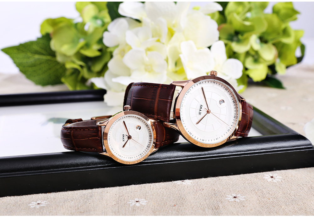 EYKI 1070 Fashion Couple Watches Date Window Numeral Scale Wristwatches