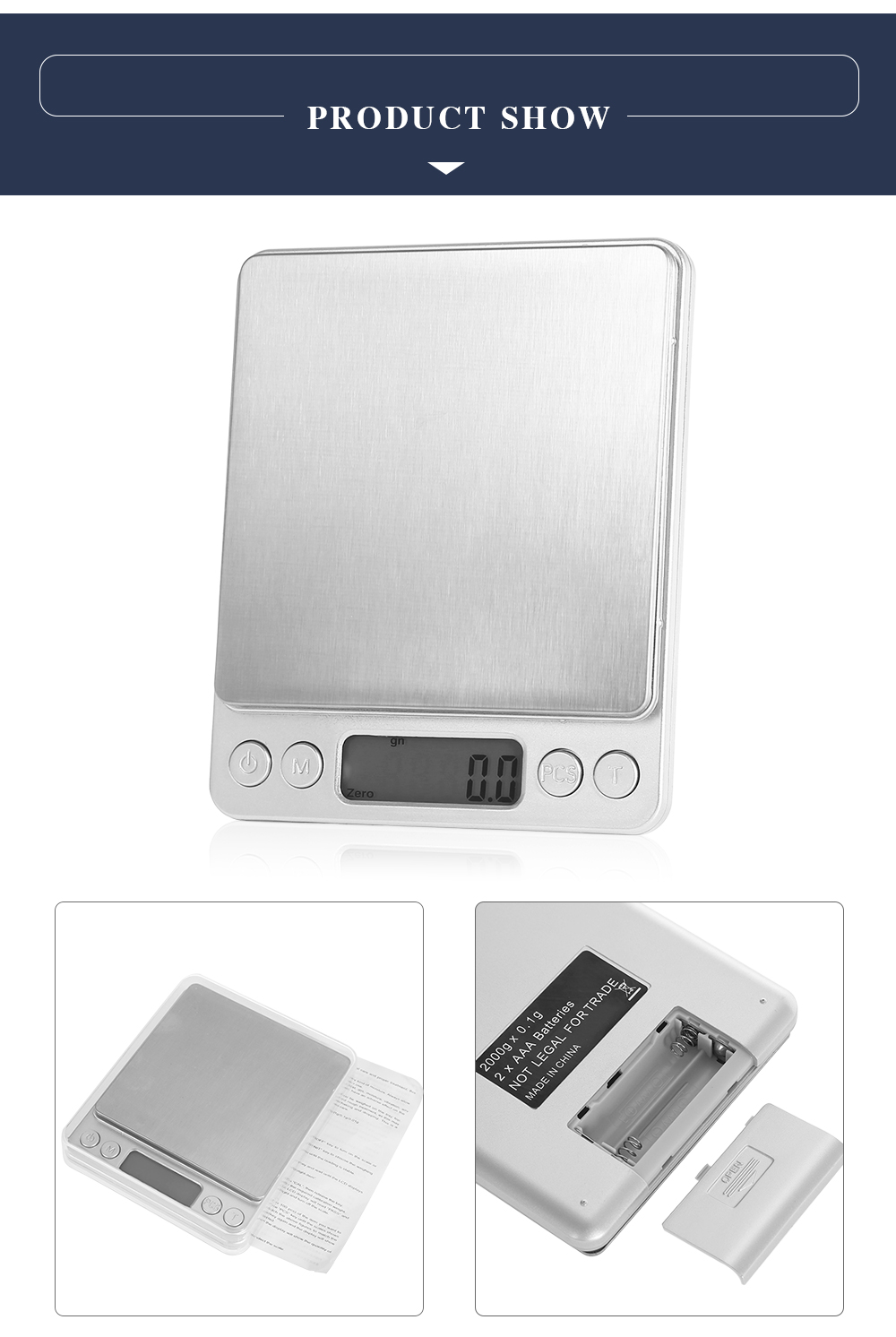 M - 8008 Portable Precise 2000g 1.7 inch LCD Screen Digital Scale